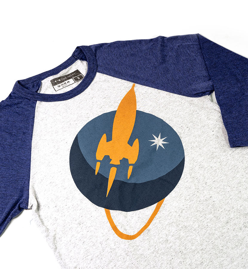 Liftoff Logo Unisex Raglan Heather Grey/Navy