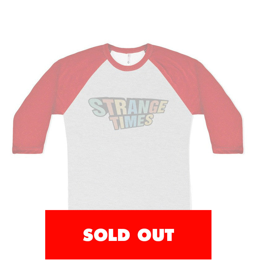 Strange Times-Stacked Logo Unisex Raglan-Heather Grey/Red-x-small-To The Stars...
