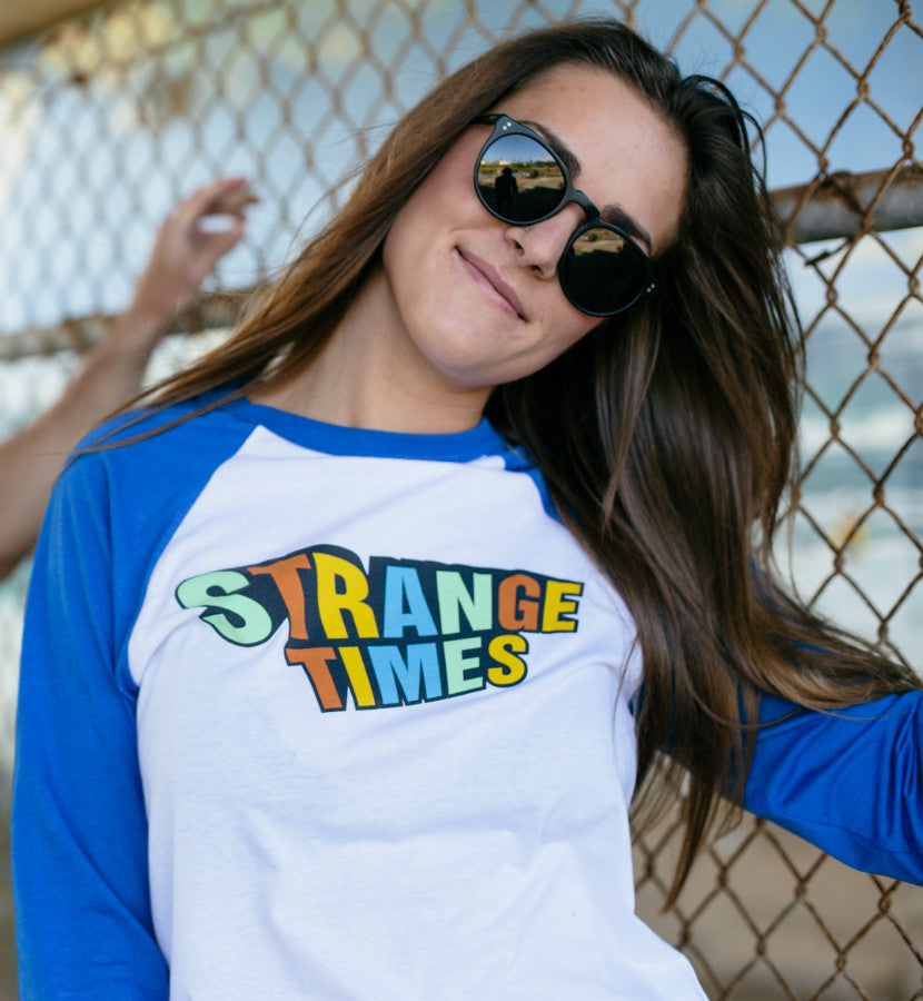 Strange Times Stacked Logo Unisex Raglan White/True Royal - To The Stars...