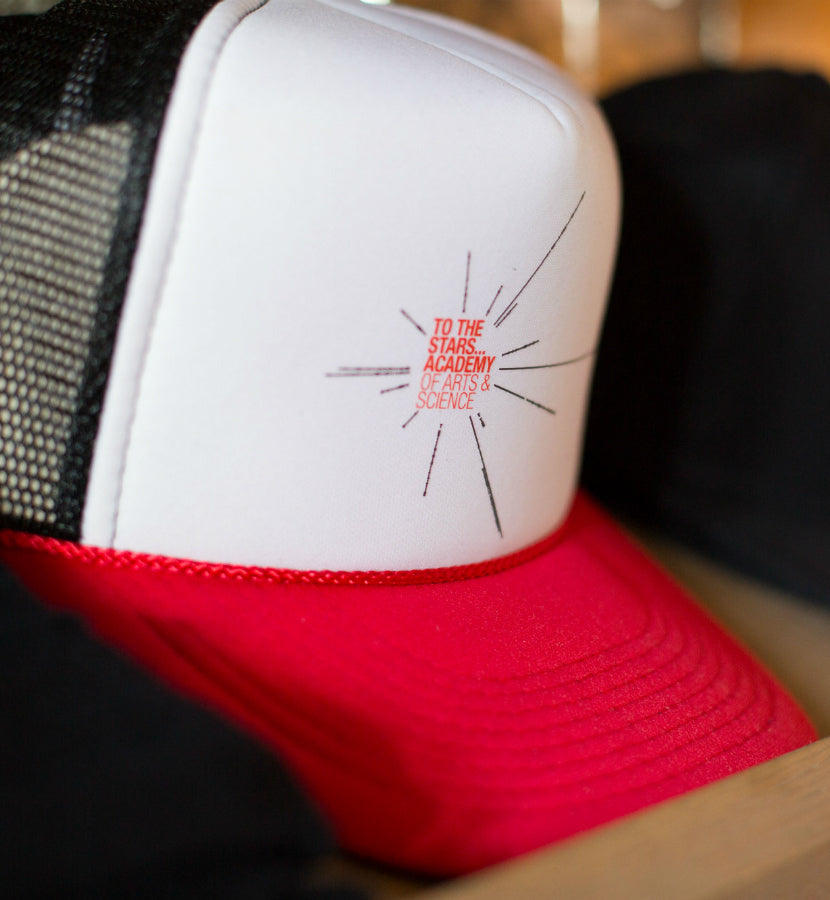 To The Stars... Academy of Arts & Science Pulsar Star Trucker Hat Black/White/Red - To The Stars...