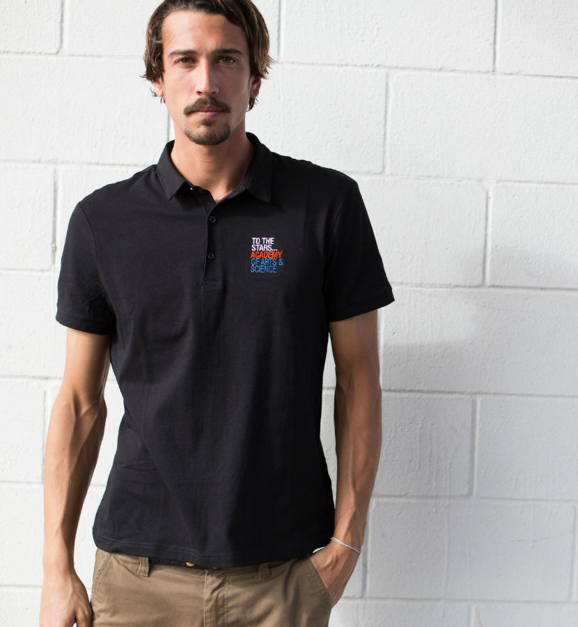To The Stars... Academy Of Arts & Science Text Logo Polo Black - lifestyle - To The Stars...