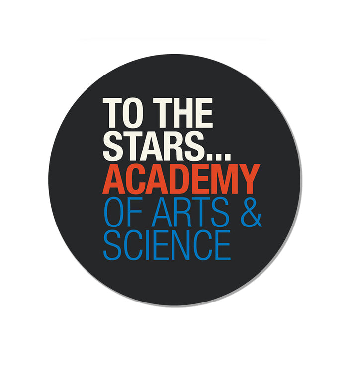 Academy of arts science text logo sticker black
