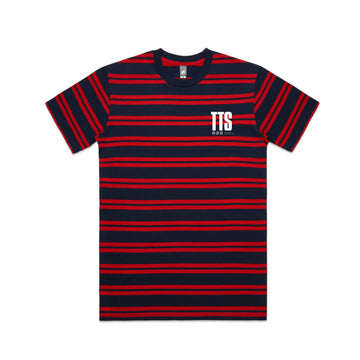 Acronym Striped T-Shirt Navy/Red | To The Stars...