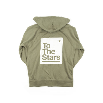 To The Stars Box ZIp-Up Hoodie Olive