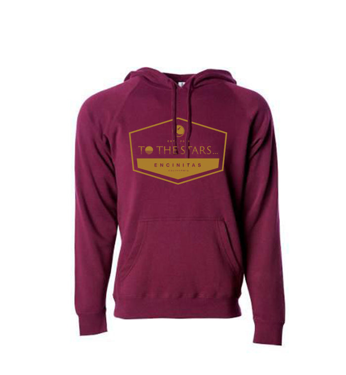 To The Stars... Established Unisex Pullover Hoodie Maroon/Gold - To The Stars...