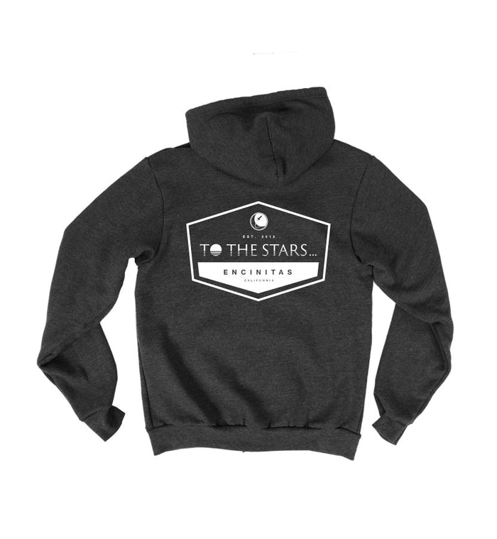 To The Stars... Established Unisex Zip Up Hoodie Tri-Black Back - To The Stars...