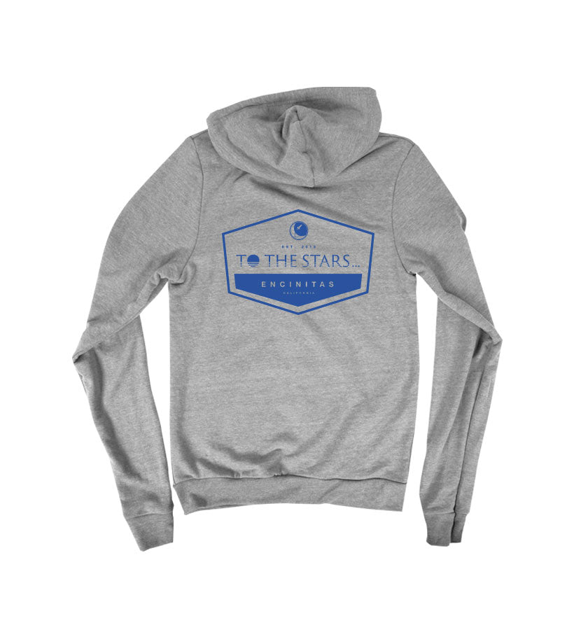 To The Stars... Established Unisex Zip Up Hoodie Tri-Grey Back - To The Stars...