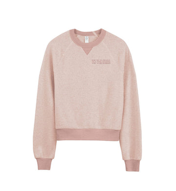To The Stars Inc. Glitch Embroidered Women's Teddy Sweatshirt Rose Quartz - To The Stars...