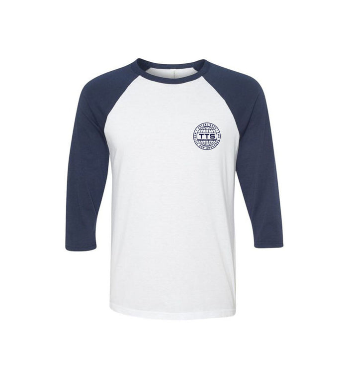 To The Stars... Global Force Unisex Raglan White/Navy Front - To The Stars...