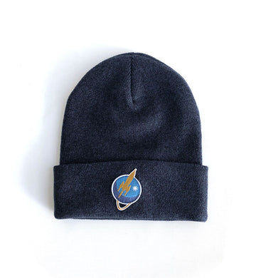 To The Stars... Liftoff Logo Patch Foldover Beanie Navy