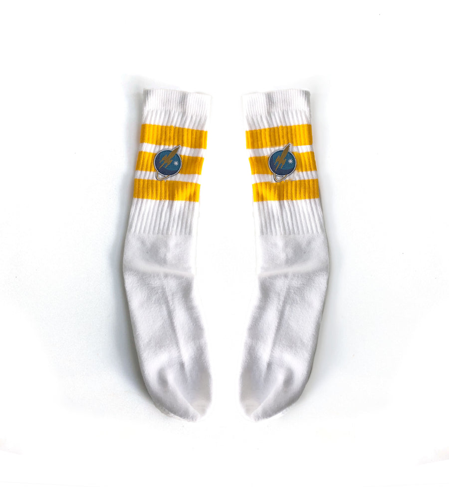 Liftoff Logo Tube Socks White/Yellow