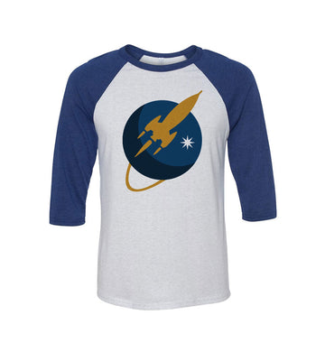 To The Stars... Liftoff Logo Unisex Raglan White/Navy