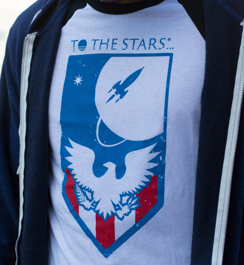 To The Stars... Memorial Unisex Raglan White/Black - Lifestyle Up Close - To The Stars...