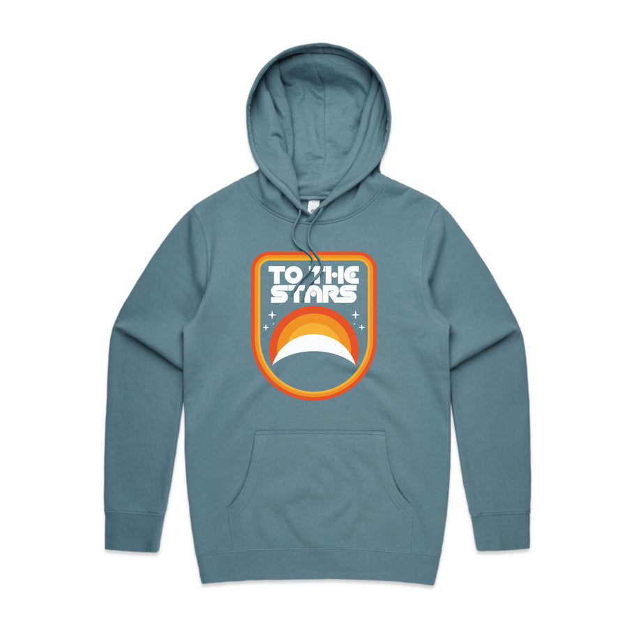 To The Stars... Mission Badge Unisex Pullover Hoodie Slate Blue | ToTheStars.Media