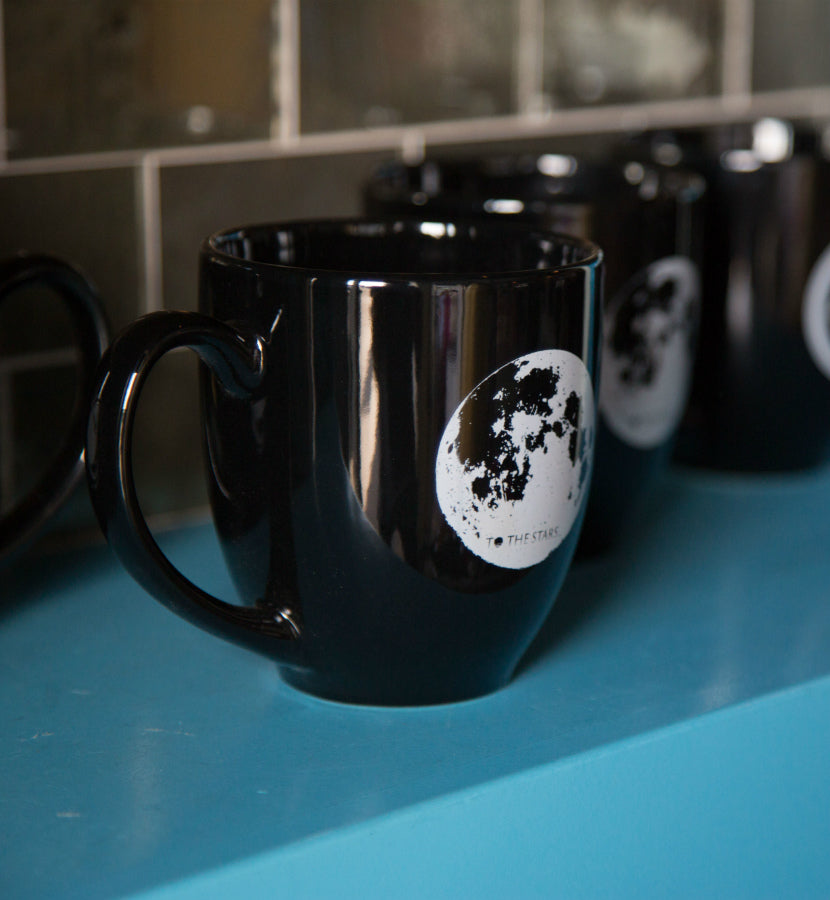 To The Stars... Moon Mug Black - To The Stars...
