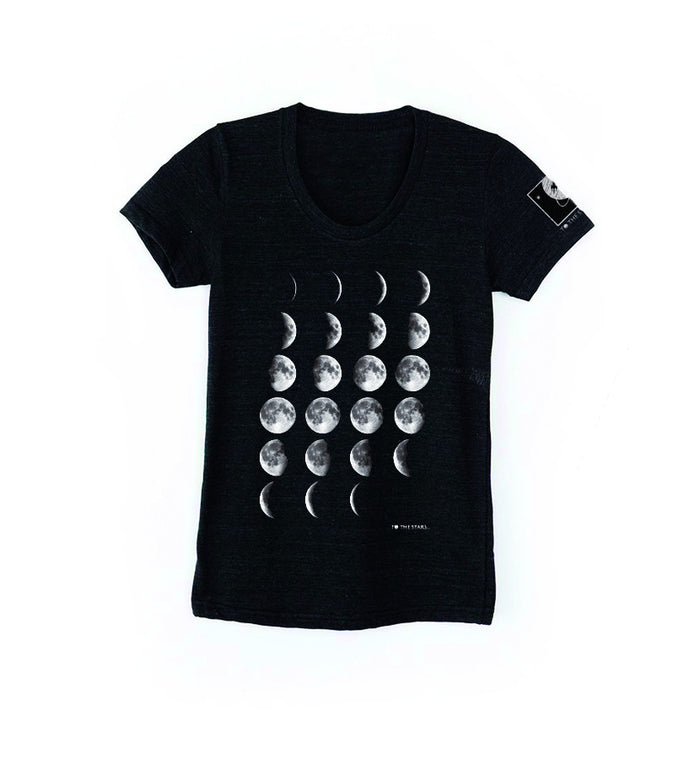 To The Stars... Moon Phases Women's T-Shirt Black Heather