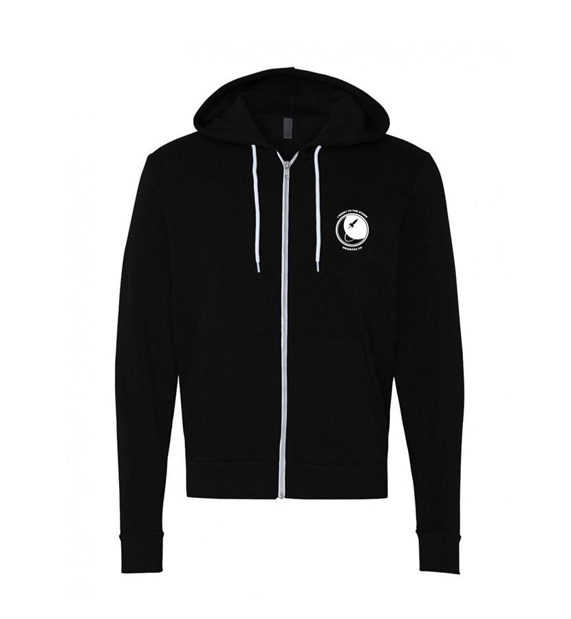 To The Stars... Moon Unisex Zip Up Hoodie Black - Front - To The Stars...