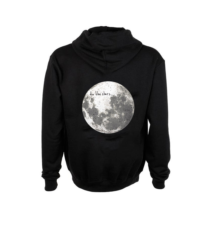 To The Stars... Moon Unisex Zip Up Hoodie Black - Back - To The Stars...