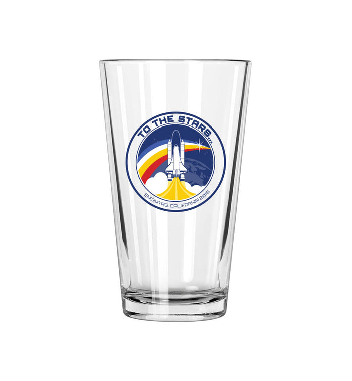 Retro Space Launch Pint Glass