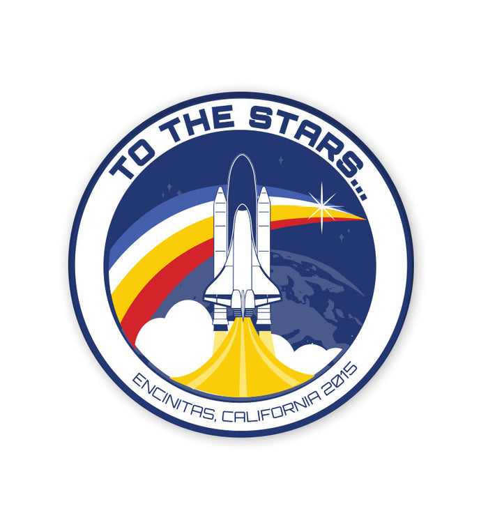 Retro Space Launch Sticker