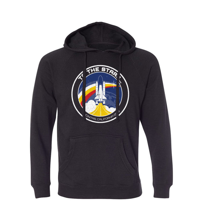 To The Stars... Retro Space Launch Unisex Pullover Hoodie Black - To The Stars...