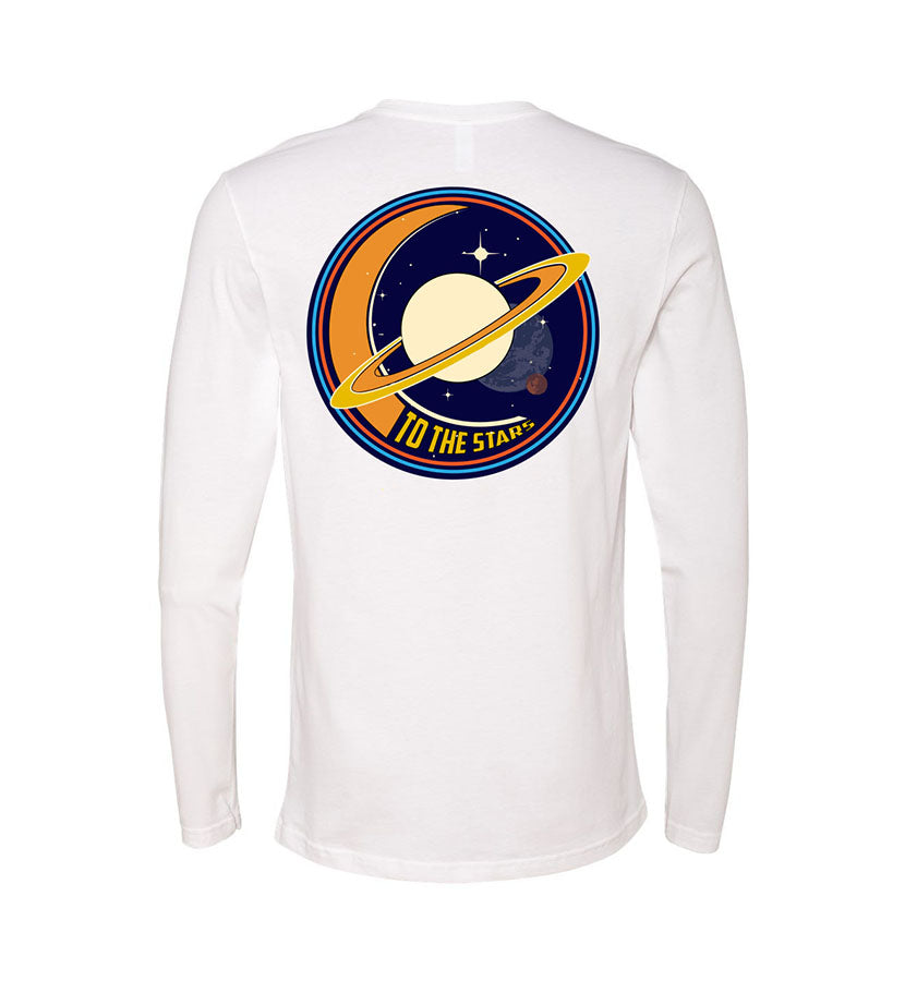 To The Stars... Saturnday Unisex L/S T-Shirt White - Back - To The Stars...