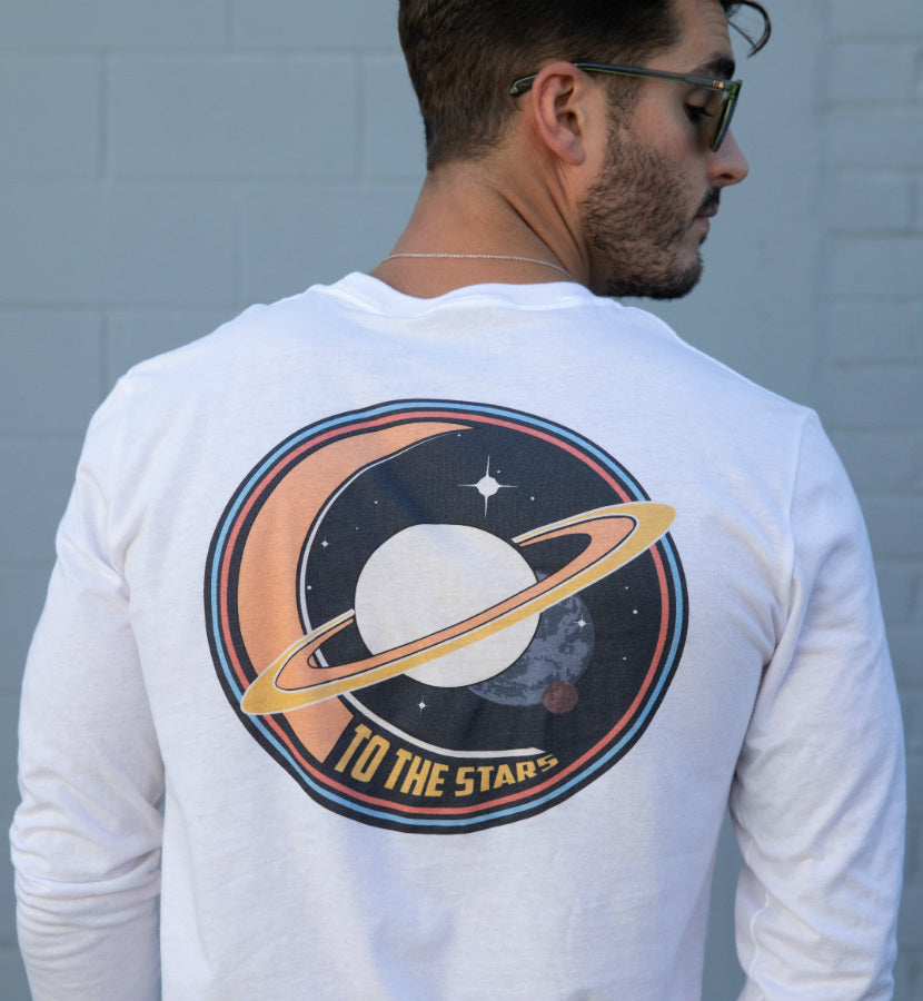 To The Stars... Saturnday Unisex L/S T-Shirt White - Front - To The Stars...