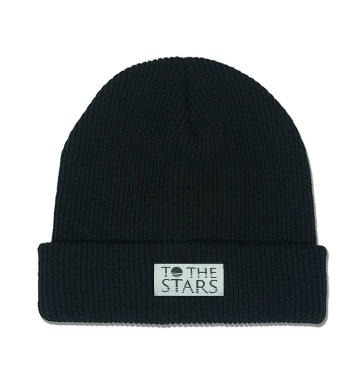 To The Stars... Text Logo Patch Foldover Beanie Black