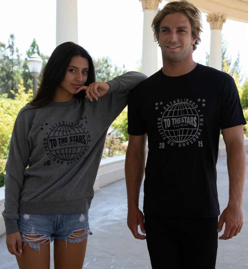 To The Stars... Worldwide Unisex Crew Sweatshirt Heather Grey/Black - To The Stars...