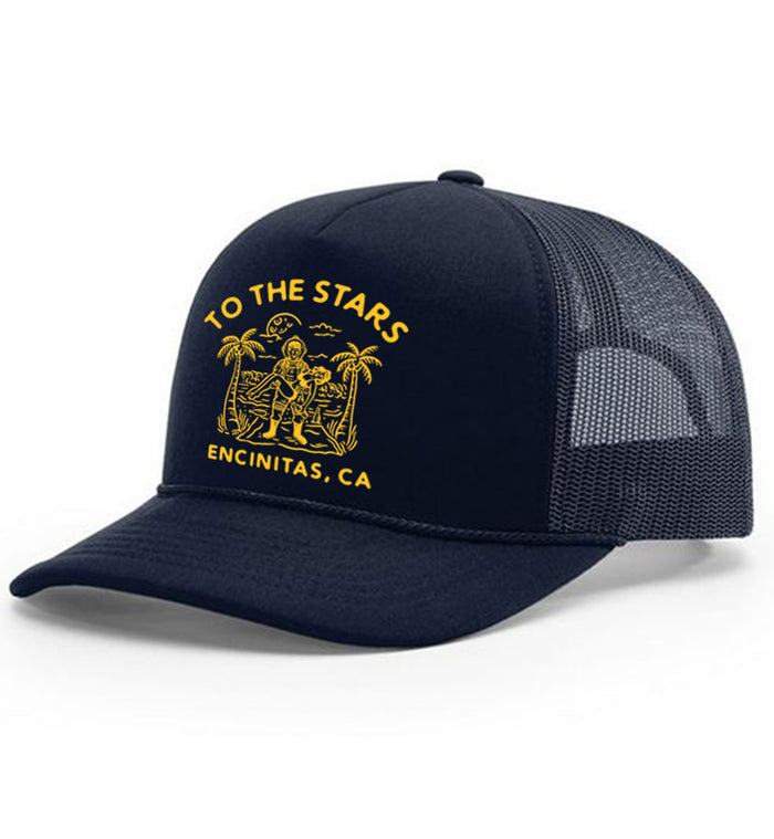 Wrecked Trucker Hat Navy/Yellow
