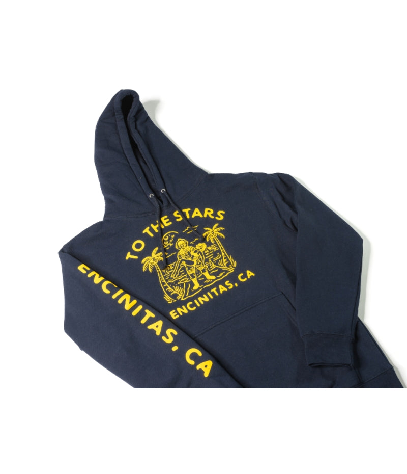 Wrecked Unisex Pullover Hoodie Navy/Yellow