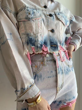 TIE DYE PRINTED DESTROYED DENIM JACKET