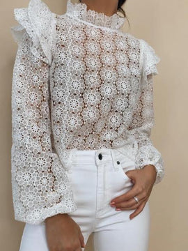OFF WHITE SLEEVE RUFFLE LACE TOP