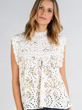 EYELET EMBROIDERED TOP