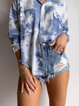 BLUE TIE DYE PRINTED OVERSIZE SHIRT