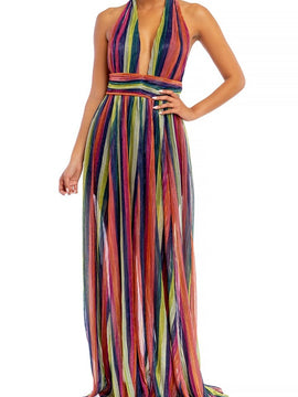 RAINBOW STRIPE HALTER DRESS