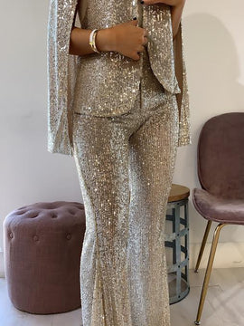 SEQUIN BELL BOTTOM PANT