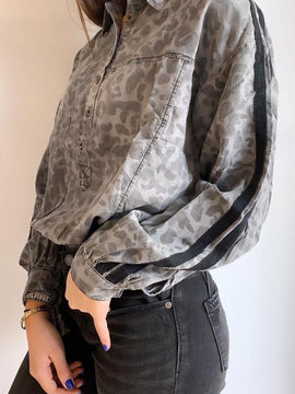 CHARCOAL LEOPARD TENCEL SHIRT