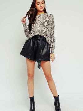 BLACK LEATHER HIGH WAISTED SHORTS