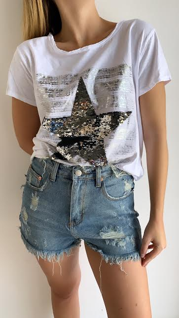 DISTRESSED WAIST DENIM SHORTS