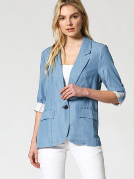 STRIPED LINING DENIM BLAZER