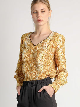 YELLOW ANIMAL PRINT BLOUSE