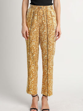 YELLOW ANIMAL PRINT TROUSER