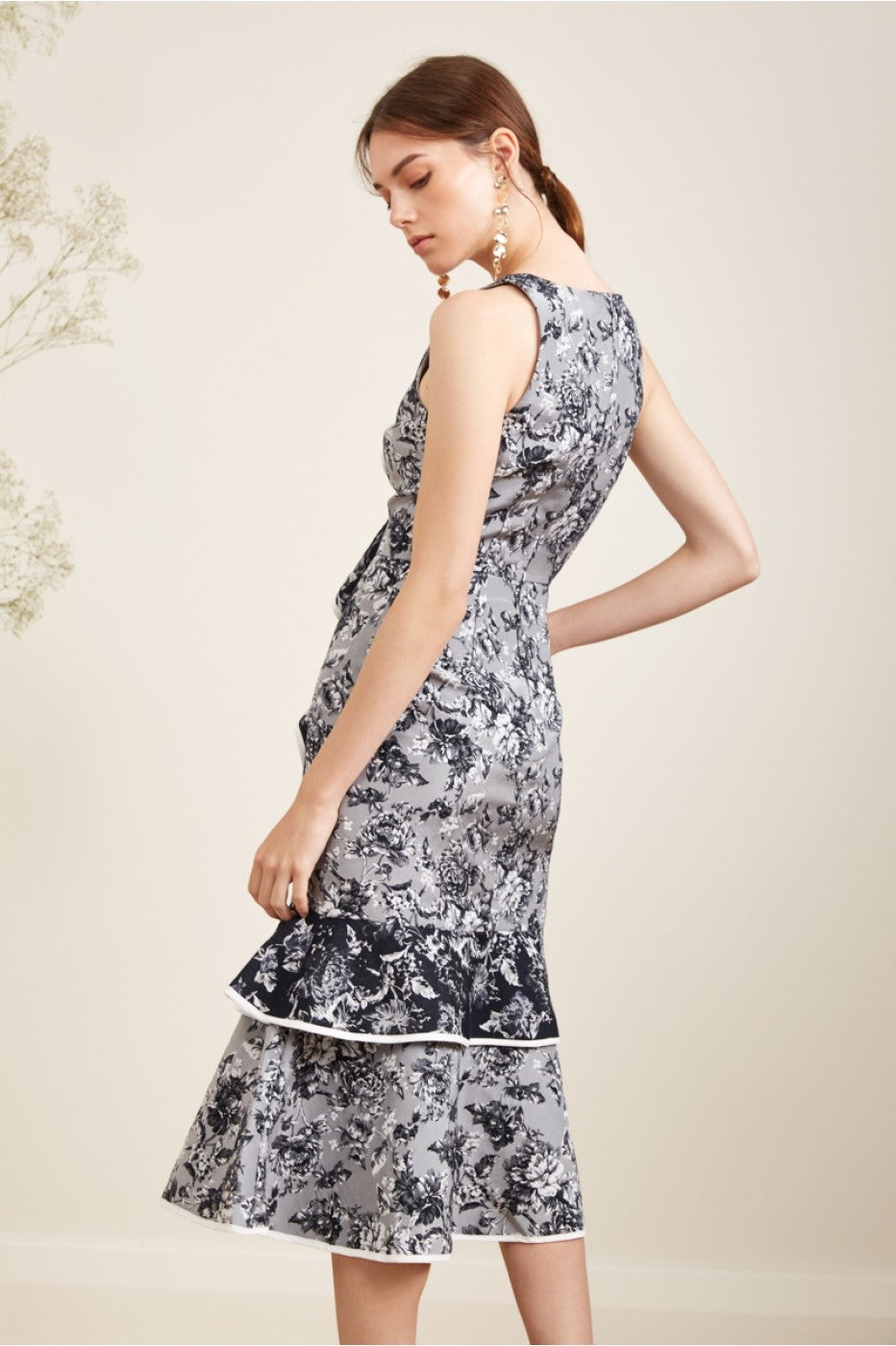 GREY/NAVY FLORAL MIDI DRESS