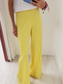 High Waist Wide Flare Leg Solid Satin Pant