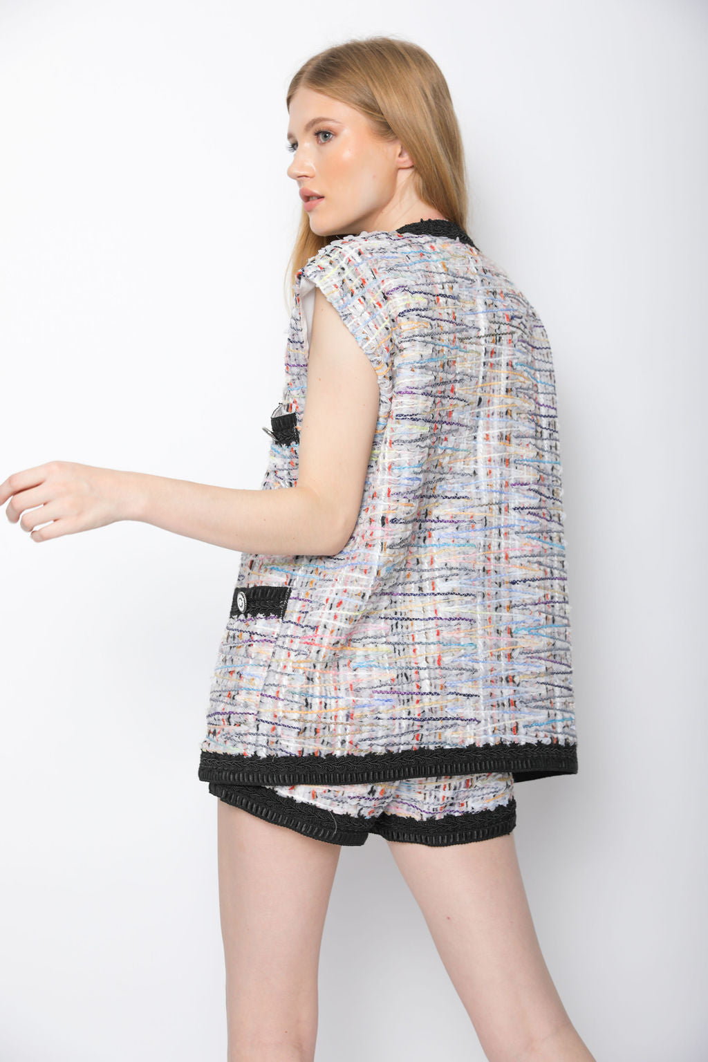 MULTI OVERSIZED BUTTON-EMBELLISHED VEST