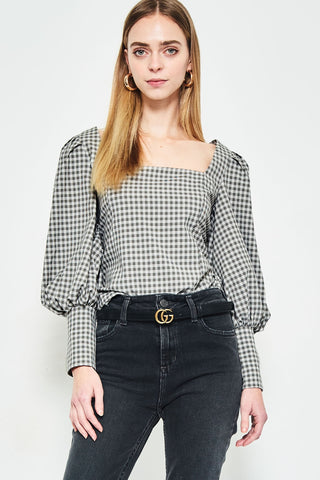 GINGHAM PUFF BLOUSE