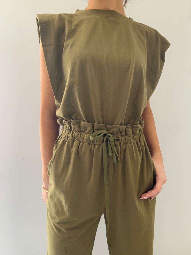 OLIVE SHOULDER PADDED SLEEVELESS JUMPSUIT