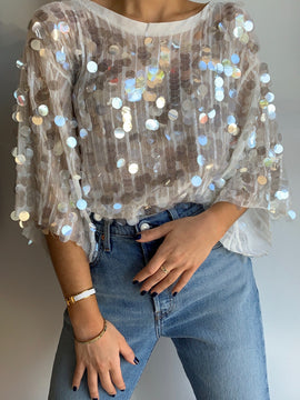 FLOWY SEQUIN TOP