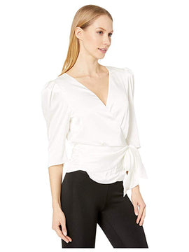 WHITE WRAP PUFF SLEEVE TOP